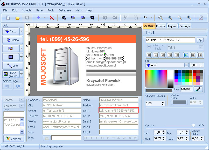 businesscards mx is an advanced business card design software screen shot - Business Card Maker Software